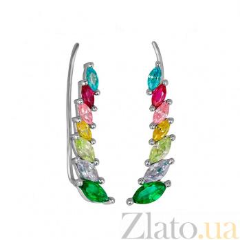 Серьги-каффы из белого золота Радужные крылья с разноцветными фианитами 000081413