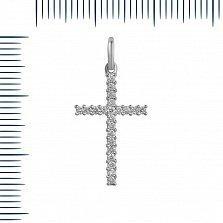 Крестик из белого золота Лунная мелодия с бриллиантами