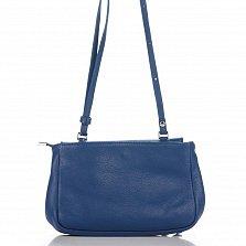 Кожаный клатч Genuine Leather 1504 синего цвета с плечевым ремнем и клапаном