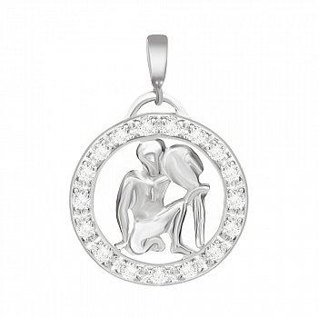 Срібний підвіс з кристалами цирконію Водолій 000025309