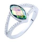 Серебряное кольцо Нателла с топазом мистик и фианитами