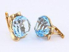 Золотые серьги с голубыми топазами Самида