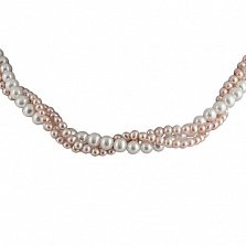 Ожерелье Эклекта из 3 нитей белого и розового жемчуга с серебряной застежкой
