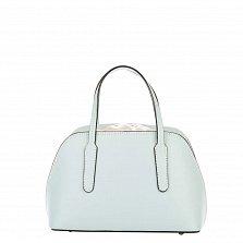Миниатюрная кожаная сумка Genuine Leather 8672 голубого цвета на кулиске, с металлическими ножками