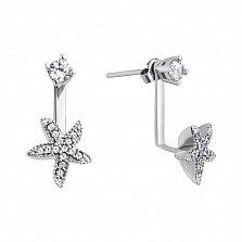 Серебряные серьги-пуссеты Милые цветочки с фианитами