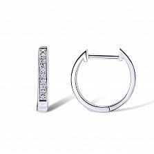 Серьги-кольца из белого золота Милагрос с дорожкой бриллиантов