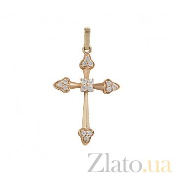 Золотой крест с бриллиантами Светлое будущее 000026742