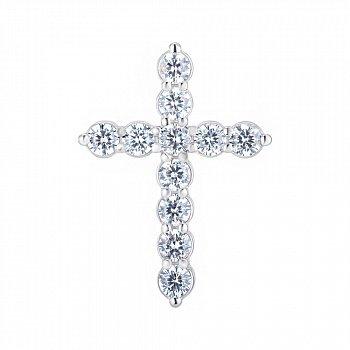 Срібний хрестик з фіанітами 000148228