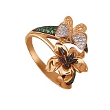 Золотое кольцо из красного и белого золота Тропиканка с цирконием