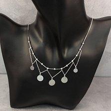Серебряное колье Танцующие монеты с подвесками и родием