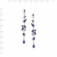 Серебряные серьги-подвески Эсфирь с фианитами и синтезированной синей шпинелью
