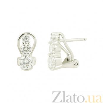 Серебряные серьги с фианитами Зандра 3С543-0173