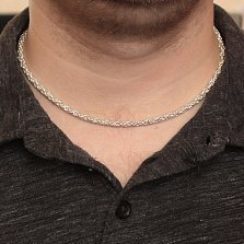 Серебряная цепь Орест в свободном плетении лисий хвост, 3мм
