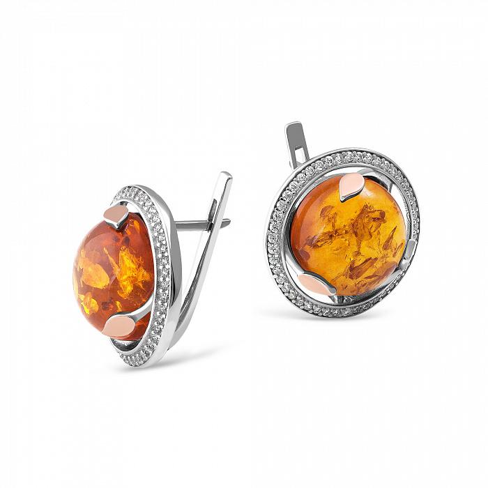Серебряные серьги Жюльетта с золотыми накладками, янтарем и фианитами 000067331