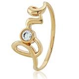 Золотое кольцо с кристаллом Swarovski Любовь