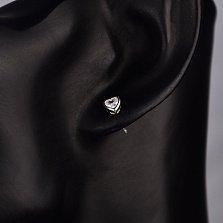 Серебряные пуссеты-сердца Легкость чувств с белыми фианитами
