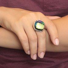 Серебряное кольцо Лимонный блеск с имитацией опала