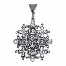 Серебряный иерусалимский крест Георгий Победоносец с чернением и фианитами