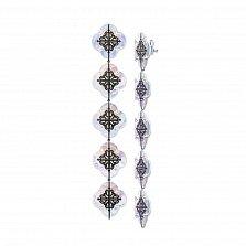Серьги-подвески из серебра Лакшери с перламутром и красным корундом