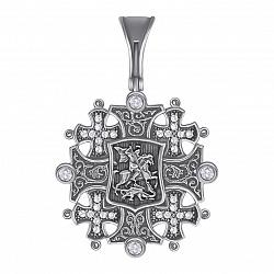 Серебряный иерусалимский крест Георгий Победоносец с чернением и фианитами 000064515