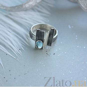 Серебряное чернёное кольцо с топазом Либертина 000017272