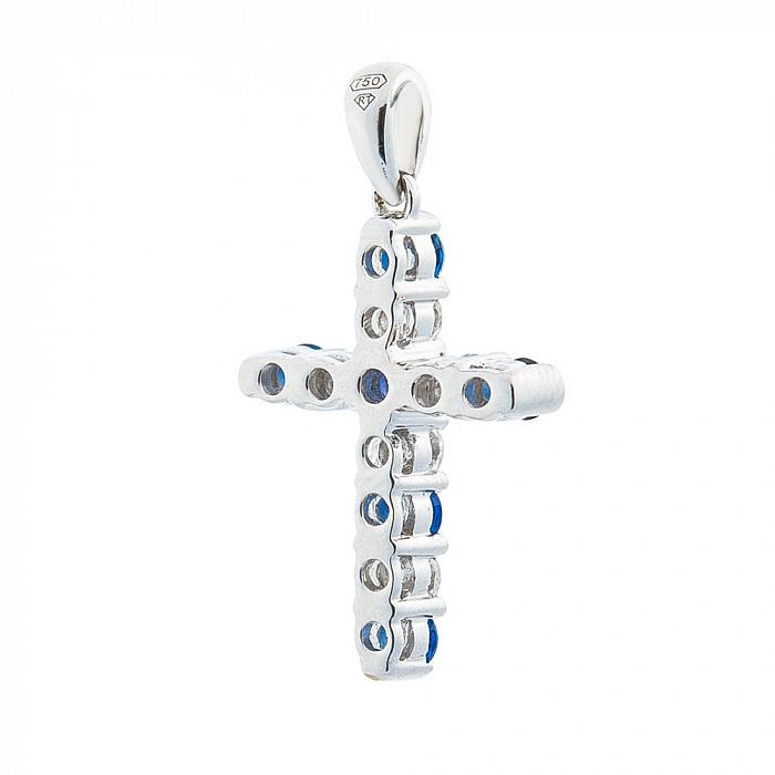 Крестик из белого золота Эритрея с сапфирами и бриллиантами 000091562 000091562