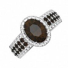 Серебряное кольцо Орнелла с раухтопазом и фианитами