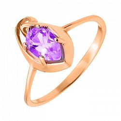 Кольцо из красного золота с аметистом 000134785