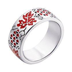 Серебряное кольцо с красной и черной эмалью 000133713