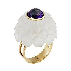 Золотое кольцо с аметистом и кварцем Жоржина 000033336