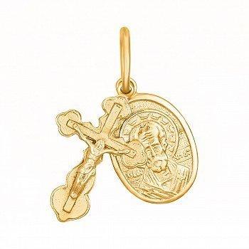 Серебряный крестик с ладанкой Небесный целитель с позолотой 000025229