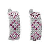 Серебряные серьги Цветочный Орнамент с фианитами