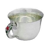 Серебряная чашка Божья коровка с эмалью