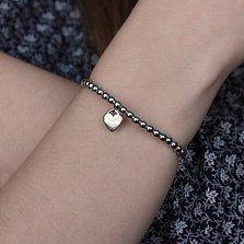 Серебряный браслет Валентайн с подвеской-сердцем в стиле Тиффани