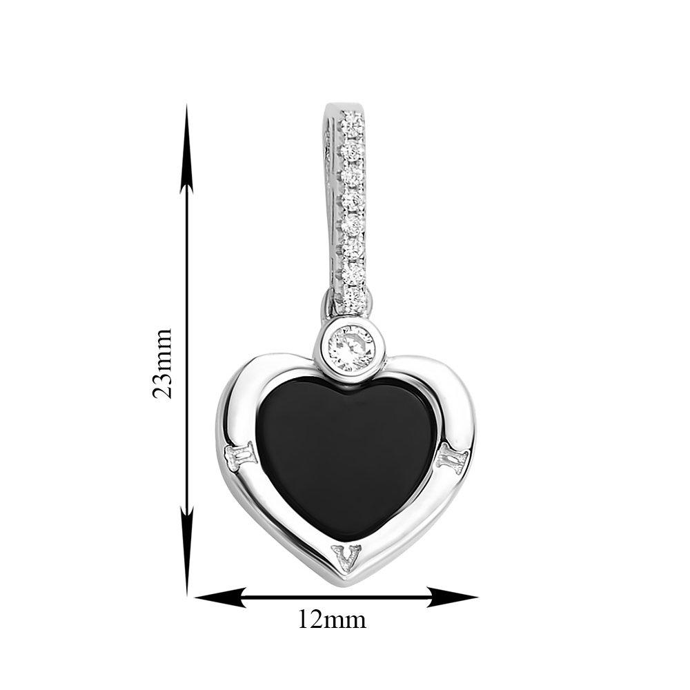 Серебряный кулон-сердце Магия любви с черными ониксом и фианитами
