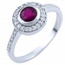 Серебряное кольцо Амбер с рубином и фианитами