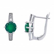 Изысканные серебряные серьги с зеленым агатом Свежесть