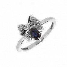 Серебряное кольцо Грета с сапфиром и фианитами