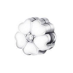 Серебряный шарм-клипса с цирконием и белой эмалью 000072107