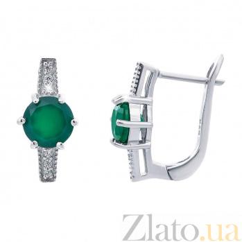 Изысканные серебряные серьги с зеленым агатом Свежесть AQA--E00366Ag