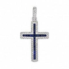 Крестик в белом золоте Бесценный дар с сапфиром и бриллиантами