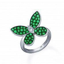 Серебряное кольцо Летний вечер с зелеными алпанитами и фианитами