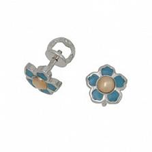 Серебряные пуссеты Цветочек с золотом и голубой эмалью
