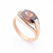 Золотое кольцо Саида в красном цвете с раухтопазом и белыми фианитами