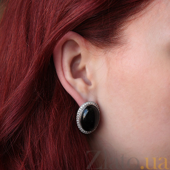 Серебряные серьги Эльвира с черным агатом и фианитами 000005492