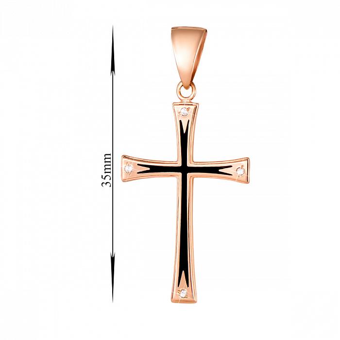 Крестик из красного золота с черной эмалью и фианитами 000133273 000133273
