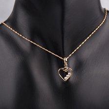 Золотой подвес Сердца трёх с фианитами