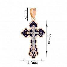 Золотой крестик с синей эмалью Расписной