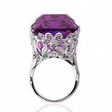 """Коктейльное кольцо """"Веста с аметистом, сапфирами, изумрудами и бриллиантами"""