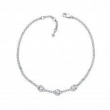 Золотой браслет Ландыши в белом цвете с бриллиантами